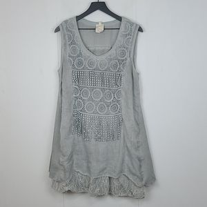 Pretty Angel Linen Blend Bono Tunic Mini Dress L